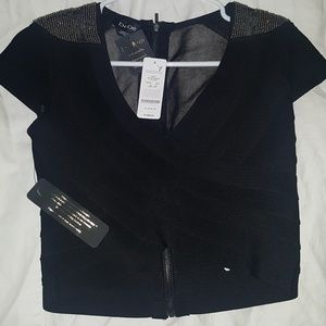 bebe shoulder detail bandage top black